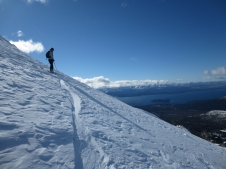 Donna scoping her off piste line in La Laguna.